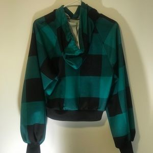 Green checker board fall shirt